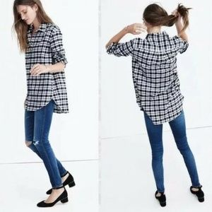 Madewell Oversized Flannel Button Down Shirt Black
